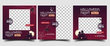 Halloween Sale Social Media Post Template Design Collection. Modern Square Promotion Banner With Place For The Photo.