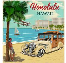 Honolulu Retro Poster With Retro Woody Car.