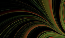 Abstract Black Background With Fractal Green Pattern