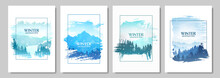 Winter Landscapes Set. Vector Illustration. Mountain Landscape. Travel Concept Of Discovering. Hiking Tourism. Adventure. Minimalist Graphic Posters. Polygonal Flat Design For Coupons, Vouchers, Cards