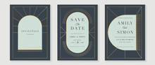 Art Deco Wedding Invitation Card Vector. Luxury Classic Antique Cards Design For VIP Invite, Gatsby Invitation Gold, Fancy Party Event, Save The Date Card And Thank You Card. Vector Illustration.
