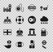 Set London Underground, Wooden Beer Mug, Cloud With Rain, Sign, Football Ball, British Crown, Big Ben Tower And Breakfast Icon. Vector