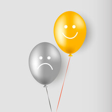 A Sad And Cheerful Smiley Face. Balloons. Helium. Vector Illustration.