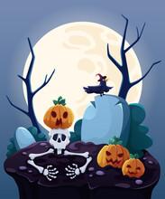Halloween Card. Halloween Pumpkins Under The Moonlight. Halloween Pumpkin Patch In The Moonlight. Cartoon Vector Illustration.