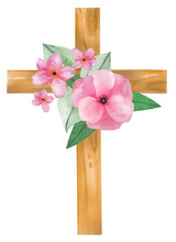 Watercolor Hand Drawn Floral Cross For Easter Holiday Invitations. Symbol Of Holy Spirit, Christening, First Communion Isolated On White Background.