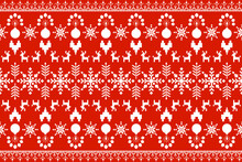 Knitted Pattern On Red Background.white.Vector Illustration.Aztec Style,Christmas Concept.design For Texture,fabric, Clothing,wrapping And Carpet.beautiful Embroidery.abstracts And Culture.deer,heart
