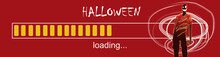 Vector Illustration Of Progress Bar With  ZOMBIE. Happy Halloween