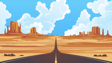 Monument Valley Navajo Tribal Park, Vector Illustration. Desert Landscape With Road Going Far Away Into The Horizon.