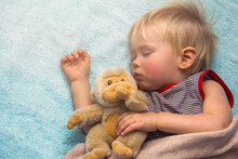 Sleeping Baby Boy With Toy Monkey