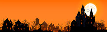 Illustration For The Holiday Of Halloween 2021. Panorama Of A Sinister Village. Halloween Panorama With Castle, Cemetery And Abandoned Village. Vector Illustration.