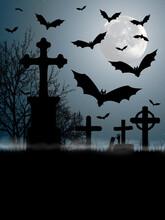 Affiche Décor Avec Chauves-souris Pour La Nuit D'halloween