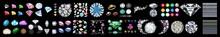 Set Of Multi Colored Round Brilliant Cut Diamonds Isolated On White Background, Purpule DiaPurpule Diamond Crystals Vector Clip Art Set Of 8 Gemstone Illustrationsmond Crystals