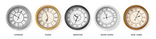 Set Of Vintage Retro 3d Wall Clock For Time Zones Different Cities, London, Moscow, Paris And Hong Kong. Vector Illustration. Business Metal Watch Face Icon