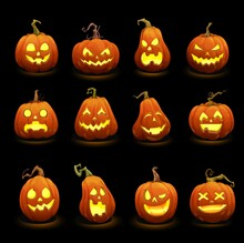 Cartoon Halloween Burning Pumpkins. Jack O Lanterns Scary Monster Characters. Halloween Pumpkins With Carved Spooky, Angry Screaming And Creepy Smiling With Sharp Teeth Mouth Faces Glowing In Darkness