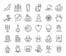 Halloween Ghost, Pumpkin And Witch, Spider Web And Scary Characters, Vector Outline Icons. Halloween Cat And Bat With Spooky Candy And Horror Monsters, Witch Hat And Skull With Candle For Creepy Party