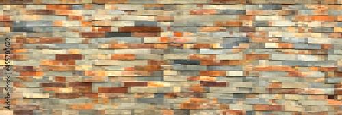 Płytki ceramiczne naśladujące kolorową cegłę w odcieniach brązów i szarości