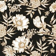 Seamless Pattern With Flowers. Black Vintage Background. Floristics. Vintage Graphics.