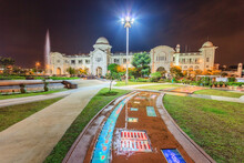 IPOH, PERAK, MALAYSIA - APRIL 15, 2017: Night View Of Historical Buildings Of Ipoh Train Station And City Council In Malaysia. Still In Use For Public Citizens.