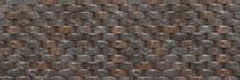 Wanddesign Imitat Von Halbrunden Dunklen Marmorierten Steinen - Verkleidung An Einer Fassade In Panorama Nahaufnahme