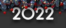 2022 Sign With Beautiful Red Christmas Balls..