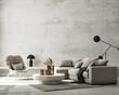 Leinwandbild Motiv Mock up Wall, modern home interior background, living room, scandinavian style, 3D render, 3D illustration