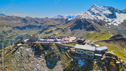 Obraz na plátně Amazing aerial view of Grossglockner mountain peaks covered by snow in summer season