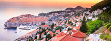 Panoramic Top View Of Dubrovnik With The Old Town, Banner, Panorama In Beautiful Evening Light At Sunset, The Adriatic Coast Of Croatia