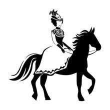 A Beautiful And Elegant Girl In Retro Clothes Riding A Horse. 19th Century. Vector Illustration Of Lines And Silhouette On A White Background. Girl On Horseback To Decorate Flyer, Postcard Or Poster
