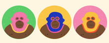 Funny Gorillas Wearing Balaclava Ski Masks. Hipster Monkeys Dressed As A Robber With A Colorful Thief Mask. Isolated Print For T-shirt, Poster, Mug, And For Cricut.