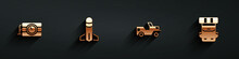 Set Dynamite And Timer Clock, Rocket, Military Jeep And Hiking Backpack Icon With Long Shadow. Vector