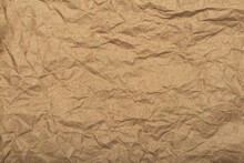 Crafted Recycled Paper With Texture And Wrinkled Effect. Crumpled Paper Backing.