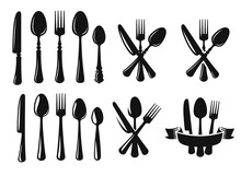 Vector Spoon Knife And Fork Black.