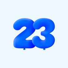 Blue 3D Number 23 Balloon Realistic 3d Helium Blue Balloons. Vector Illustration Design Party Decoration, Birthday,Anniversary,Christmas, Xmas,New Year,Holiday Sale,celebration,carnival,inflatable