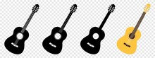 Guitar Icon Set. Black Acoustic Guitar Isolated On Transparent Background, Vector Illustration
