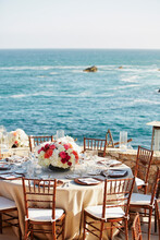 Wedding Reception Event Set Up At Hotel With Ocean View