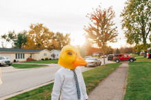 Person Wearing Duck Mask.