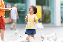 Two Kids Feeding Pigeons In The Park