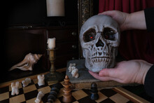 Allegorical Still Life In The Baroque Genre Vanitas, A Skull On A Book, Chess, Candles Are Burning, Concept Of The Transience Of Life, The Futility Of Pleasures And Inevitability Of Death