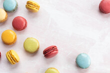 Happy Colorful Macaroons On Table