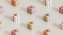 Pattern Made Of Boxes With Ribbons