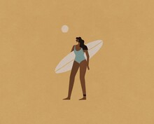 Surfer Girl With Sun On Yellow Background