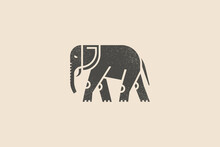 Elephant Silhouette Drawn With Stamp Effect. Indian Animal. Vintage Emblem. Design Element For Shop, Market, Packaging, Labels And Logo. Vector Illustration.