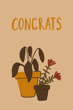 Hand Drawn Card Or Poster With Plants, Herbs, Flowers And Lettering Thank Tou. Ficus And Cute Little Yellow Flowers In Pots On Light Grey Background. Flat Vector Illustration For Print