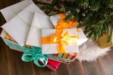 Bunch Of Christmas Gifts Near Fir