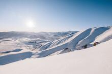 Snow Mountains With Sun