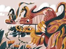 Conceptual Illustration Of Dragons Driving A Car