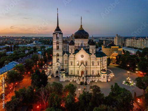 Carta da parati Night summer Voronezh, Annunciation Cathedral, aerial drone view