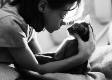 A Girl With A Cat.