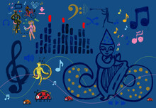 Cartoon Character With Harp And Music Theme
