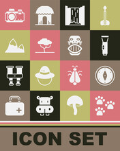 Set Paw Print, Compass, Flashlight, Waterfall, African Tree, Mountains, Photo Camera And Mexican Mayan Or Aztec Mask Icon. Vector